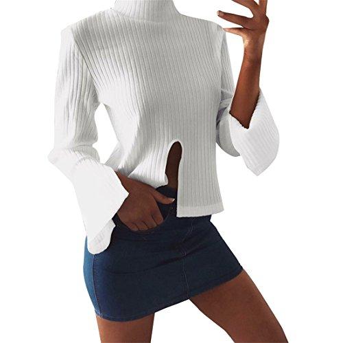 Sweatshirt damen Kolylong® Frauen Elegant Strick Langarm Bluse Herbst Winter Locker Rollkragen Pullover Mode Pulli Sweater Slim Basic Shirt T-Shirt Tank Tops oberteile (S, Weiß) (Pulli Rollkragenpullover Mädchen)