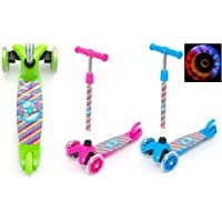 Light Weight 3 Wheel Tilt and Turn Kick Scooter with LED Light Up Wheels Adjustable T-Bar for Boys / Girls / Children / Kids