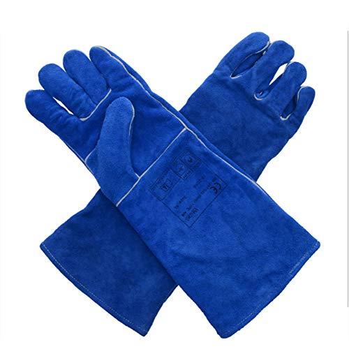 Guantes de soldadura soldadura guantes de soldadura, tubo largo aislamiento de calor resistente al desgaste caliente de alta temperatura transpirable,XL