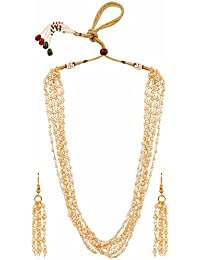 Parinaaz Traditional Gold Plated Ethnic Multi Pearl Strand Necklace Jewellery Set With Earrings For Girls