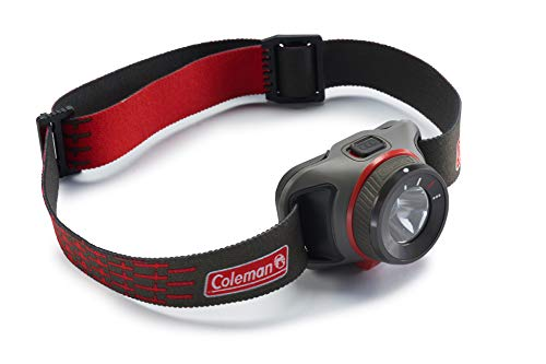 Coleman Stirnlampe BatteryGuard 300 Lumen, CREE LED, extem helle und kompakte Kopflampe, für Joggen, Camping, Angeln, inklusive 3 x AAA Batterien, grau - Coleman Taschenlampe Rot