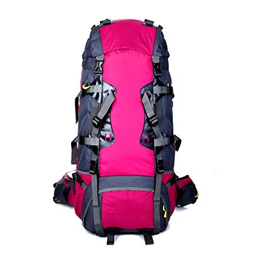 80L Multifunktions Outdoor Sport Klettern Nylon Travel Rucksack,Blue Red2