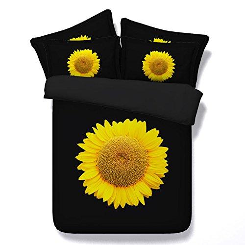 LifeisPerfect JF 109 Einfache Luxury Style Rein Schwarz mit Gelben Sonnenblumen Drucken Tröster Set Queen King Size Bett in Einem Beutel Bettwäsche (King-size-bett In Einem Beutel)