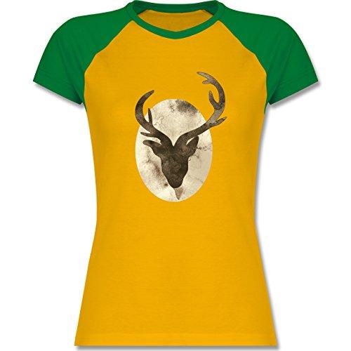 Shirtracer Wildnis - Hirsch - Aquarellsilhouette - Zweifarbiges Baseballshirt/Raglan T-Shirt für Damen Gelb/Grün
