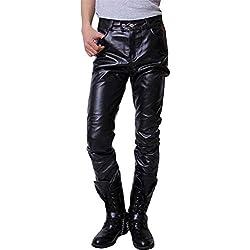 Targogo Pantalones De Hombre Biker Biker Pants Pantalones De PU Cuero De Cuero Slim Basicas Fit Soft Faux Leather Biker Pantalones De Moto Pantalones (Color : Negro, Size : XL)