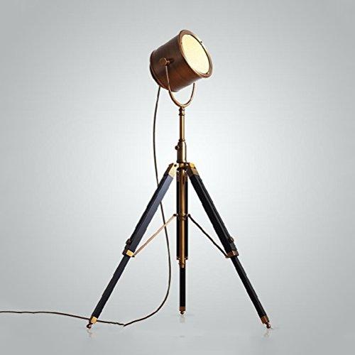 Floor lamp Clothes UK- Lámpara de pie del trípode de la Vendimia Teatre náutico Proyector Retro Decoración Industrial Lámparas de Madera Cine Apoyos de la película Lámpara de Piso