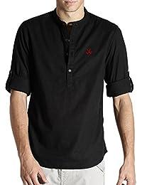 Lafantar Men's Slim Fit Mandarin Collar Shirt