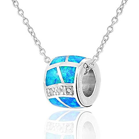Dormith® 925 sterling silver artificial charm bead fire opal pendant