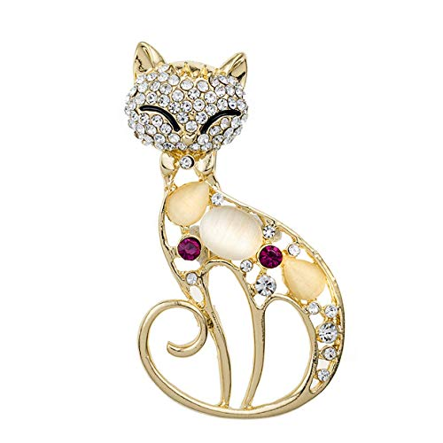 Fliyeong Premium Frauen Vintage Black Crystal Cute Cat Brosche Pins Kleidung Tasche Zubehör