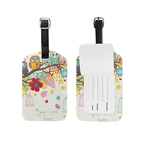 Kofferanhänger Owl Shark Flower Butterfly Black Travel Bag ID Card Label Tag PU Leather for Baggage Suitcase(2Pack) 89tAGS1688 -
