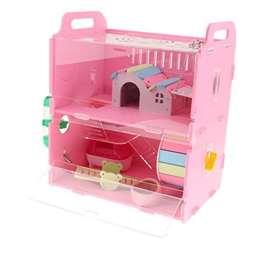 Homyl Hamsterkäfig Nagerkäfig Kleintierkäfig mit Badezimmer, Wasserspender und Laufrad für Hamste, Ratten, Mäuse, Meerschweinchen, Chinchillas - Rosa Doppelschicht
