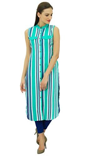 Bimba coton kurta droite col mandarin kurti tunique manches blouse dété femmes menthe verte