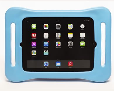 Award winning fatframe child / kids iPad case blue: bouncy, lightweight, drop proof, shock proof kids tablet cover with handles designed for children to hold. Suitable for iPad 2, iPad 3 and iPad 4 (iPad 2nd 3rd 4th generation tablet)