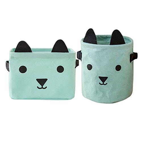 Inwagui Faltbare Aufbewahrungskörbe Klein Aufbewahrungsboxen aus Baumwolle Leinen Kinderzimmer Spielzeug Organizer Deko Korb, 2er-Set (Hunde, Grün)