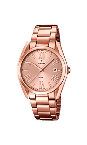 Festina Women's Quartz Watch with Rose Gold Dial Analogue Display and Rose Gold Stainless Steel Rose Gold Plated Bracelet F16793/2