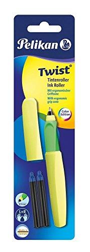 Pelikan 807333 Tintenroller Twist R457, Universell für Rechts- und Linkshänder Neongelb