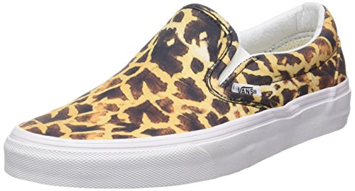 Vans CLASSIC SLIP-ON, Scarpe da Skateboard donna Marrone animal giraffe true white Leopardo