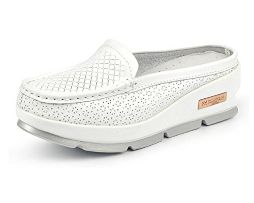 WZG Sommer Mode weibliche Modelle atmungsaktive Schicht aus Halb Traktoren Lederfrauen kühlen Hausschuhe Lochschuhe Pantoffeln weichen Teig White