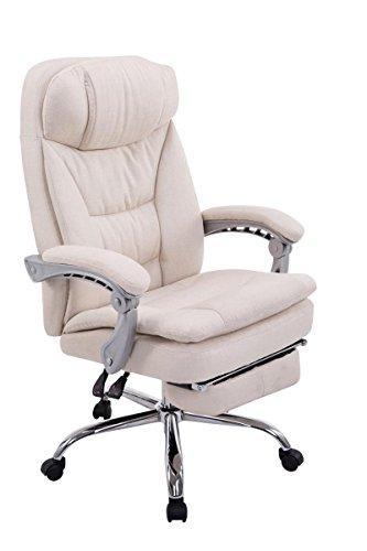 Swivel desk chair, Manager Boss office chair, High Back Executive Fabric Chair Recliner, Extra Padded Computer Chair Heavy duty ergonomic office chair Multi-Function Mechanism / Cream eMarkooz