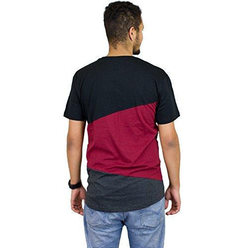 Mister Tee T-Shirt Long Shaped Zig Zag schwarz/weinrot/dunkelgrau schwarz, weinrot, dunkelgrau