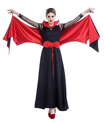 Rote Kostüm Fledermaus Flügel - FHSIANN Erwachsene Frauen rot schwarz Vampire Halloween kostüm Dress Fledermaus flügel böse dämon Damen cosplay Phantasie Outfit für mädchen Plus größe