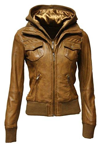 Zimmert Ledermoden Damen Übergangsjacke Leder-Jacke MIt Kapuze FIBI Slim-Fit (40, Washed Cognac)