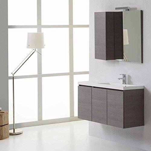 Mobile bagno manhattan da 90 cm destro con ante e specchio con pensile