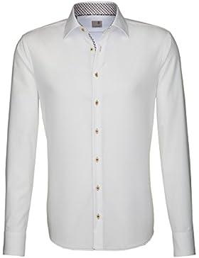 Seidensticker Herren Langarm Hemd Schwarze Rose Slim Fit weiß mit Patch 241176.01