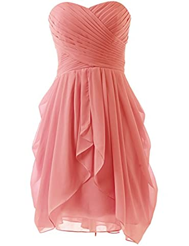 HUINI Strapless Brautjungfer Kleider kurz Chiffon Abendkleid mit Falte besetzt Ballkleid Coral Size 34