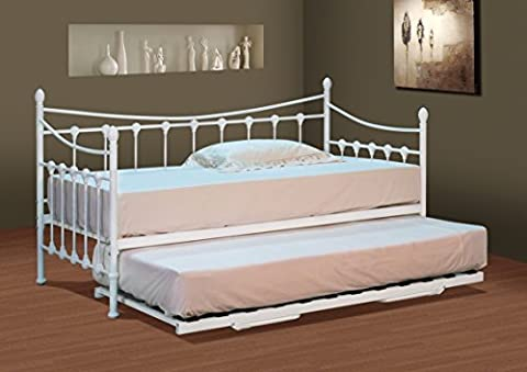 Classic Stunning White Metal Day Bed with Mattress