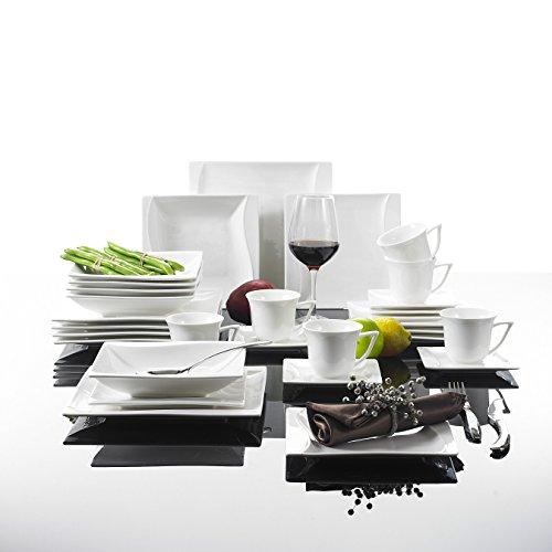 MALACASA, Serie Carina, 30 tlg. Cremeweiß Porzellan Geschirrset Kombiservice Tafelservice mit je 6 Kaffeetassen, 6 Untertassen, 6 Dessertteller, 6 Suppenteller und 6 Flachteller