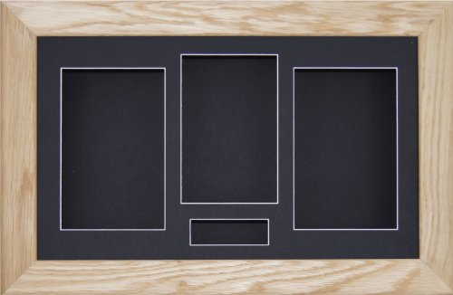 BabyRice x 21.59 cm Eiche massiv (3D-Rahmen, 4 Schwarz Passepartout, schwarzer Hintergrund (Oak Shadow Box)