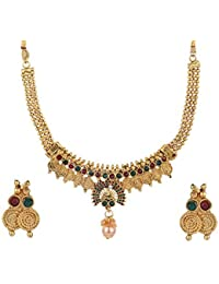 af6906fc0d9a Efulgenz Indian Bollywood Traditional White Red Green Rhinestone Faux Ruby  Emerald Heavy Bridal Designer Jewelry Choker Necklace Set in…