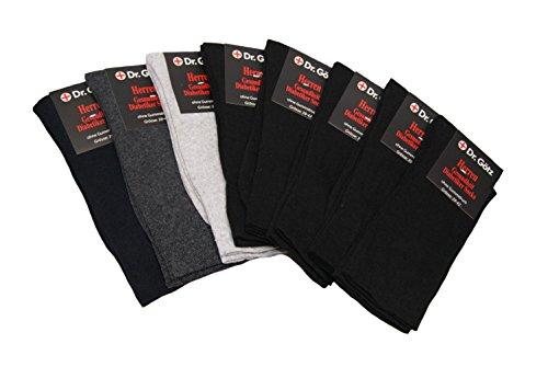 Diabetiker Gesundheit Business Socken Strümpfe Damen Herren ohne Gummi 8er Pack 5 x Schwarz 1 x Blau 1 x Grau 1 x Antrazit Größe 39-42 Gummi Welt