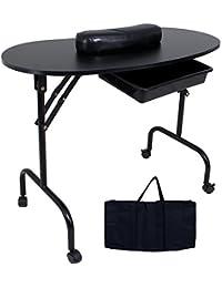 Sungle®Mesa de manicura plegable con la bolsa de transporte y el cojín, negro