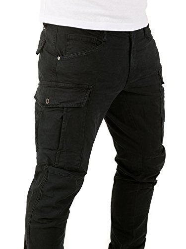 Yazubi Herren Chino Cargo Hose Jayden - Vintage Männer Cargohose - Regular Fit Schwarz (Black 4008R)