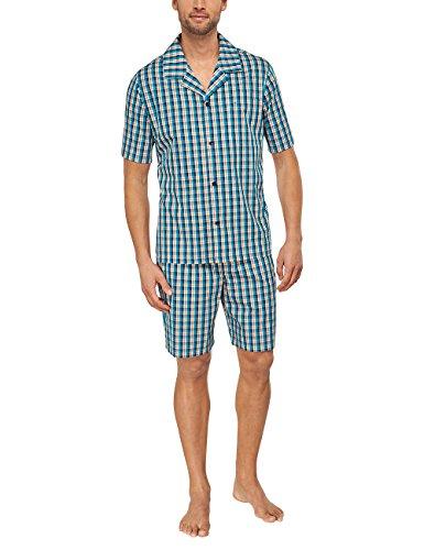 Seidensticker Herren Pyjama Kurz Zweiteiliger Schlafanzug, Blau (türkis 807), Small (Herstellergröße: 48) -