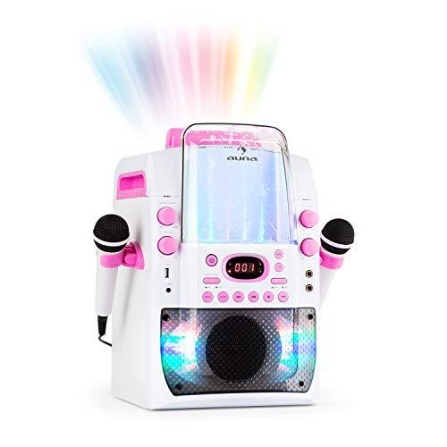 auna Kara Liquida BT • Equipo de Karaoke para niños • 2 x Micrófono • Set con Efecto LED Interfaz Bluetooth • USB • Reproductor MP3 • Fuente de Agua • Eco • Función AVC • Blanco/Rosa
