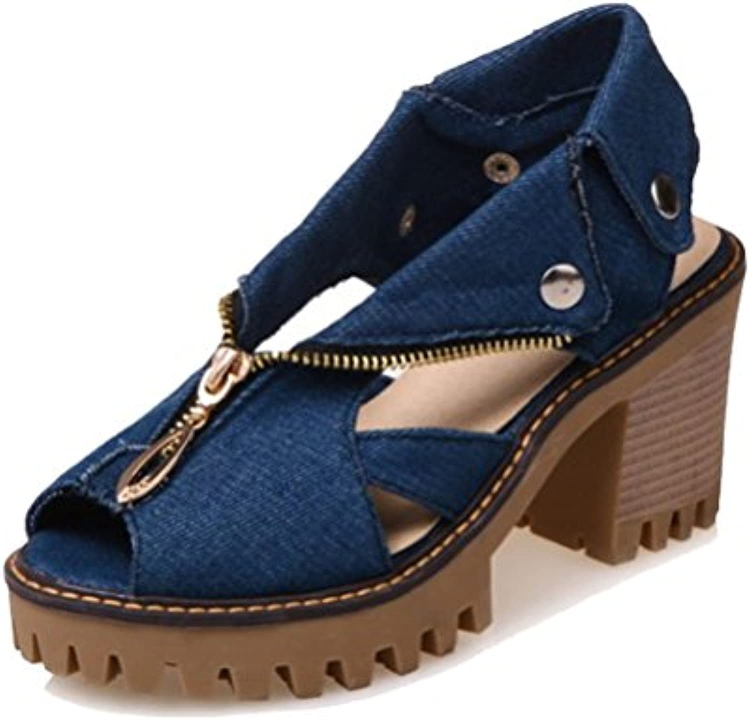 34b9b6763112 HiTime Women s Washable Denim Peep Peep Peep Toe Fashion Sandals 8 cm High Block  Heels Zipper