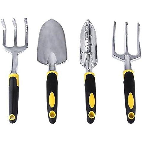 Set di attrezzi da giardino, UCMDA giardinaggio mano strumenti kit di 4con giardino forcella cazzuola Weeder Trapiantatrice Coltivatore–Ergonomico Forte Design