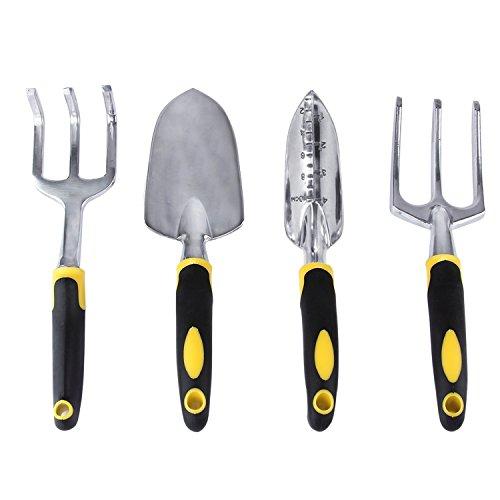 Set di attrezzi da giardino, UCMDA giardinaggio mano strumenti kit di 4con giardino forcella cazzuola Weeder Trapiantatrice Coltivatore-Ergonomico Forte Design (4pezzi)