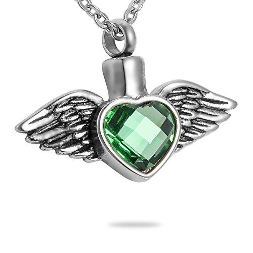 HooAMI verde diamante ángel ala corazón collar de urna de cremación joyas