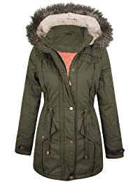 New Womens Ladies Warm Faux Fur Hooded Winter Parka Jacket Zip Up Outerwear Coat - Khaki (SI-753) BUTTON POCKET - UK 8 - (Shell - 100% Polyester / Lining - 98% Cotton, 2% Elastane)