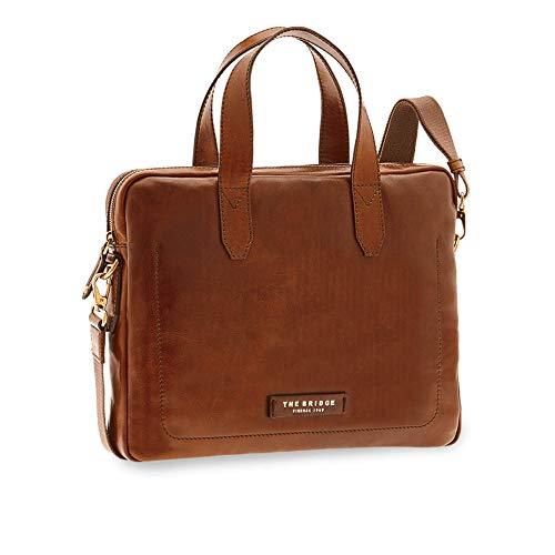 The Bridge Cartella Ventiquattrore briefcase pelle borsa tracolla porta Pc 14' apertura zip uomo man marrone Cm 39x30x6 cm 46407101