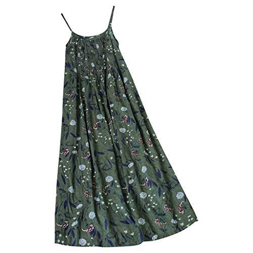 MuSheng Damen Boho Sommer Kleider Blumendruck Ärmellos Kurzarm Strandkleid Frauen Vintage Bohemian Print Floral ärmellose O-Neck Straps Maxi-Kleid -