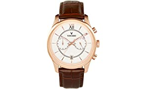 Vinceo Luxury Men's Bellwether Wrist Watch - Rose Gold/White with Brown Leather Watch Band - 43mm Chronograph Watch - Japanese Quartz Movement