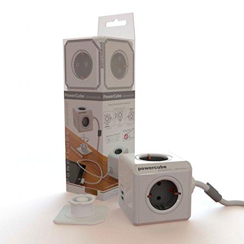 Allocacoc PowerCube - Ladrón con 4 enchufes de corriente y 2 puertos USB, blanco