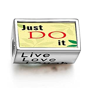 Soufeel 925 Sterling Silver Just Do It Words Live Love Laugh Charms Fit Bracelets