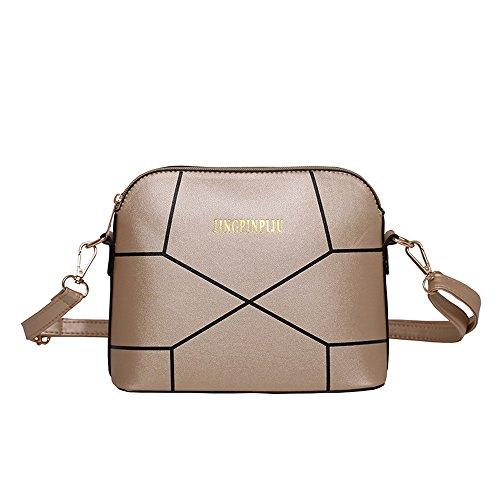 Damen Geldbörse Crack Schultertasche Tote Elegant Shell Citytasche Mode Reißverschluss PU Ledertasche Gold