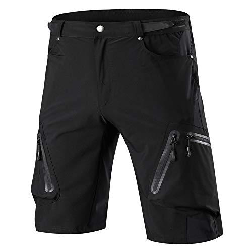 Cycorld MTB Hose Herren Radhose Wasserabweisend Mountainbike Kurz Outdoor Sport Fahrradhose Herren Shorts Herren Bike MTB Shorts, Schwarz Ohne Pad, M/cm(Waist:72-76,Hip:90-95)
